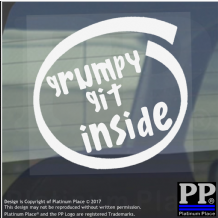 1 x Grumpy Git Inside-Window,Car,Van,Sticker,Sign,Vehicle,Adhesive,Unhappy,Old